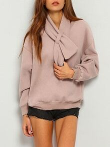 Pink Shawl Collar Long Sleeve Loose Sweatshirt