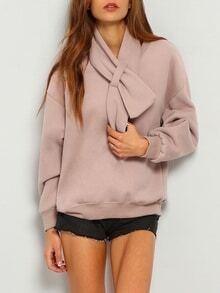 Pink Shawl Collar Long Sleeve Loose Sweatshirt