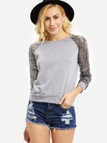 Grey Sequined Long Sleeve Sweatshirts