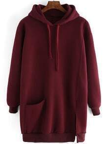 Burgundy Drawstring Hooded Split Loose Sweatshirt