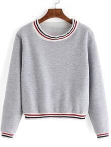 Grey Round Neck Striped Crop Sweatshirt