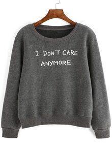 Grey Letter Print Sweatshirt
