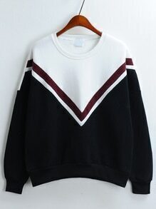 Colour-block Crew Neck Loose Sweatshirt