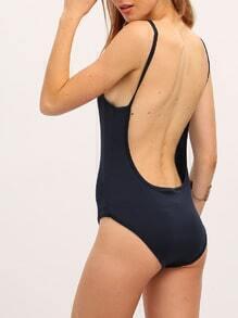 Navy Backless One Piece Swimwear