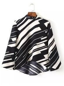 Black White Stand Collar Random Printed Crop Blouse