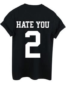 T-Shirt Rundhals mit 2 Druck - schwarz