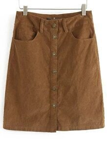 Brown Buttons Pockets Corduroy Skirt