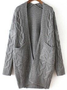 Grey Long Sleeve Cable Knit Pockets Cardigan
