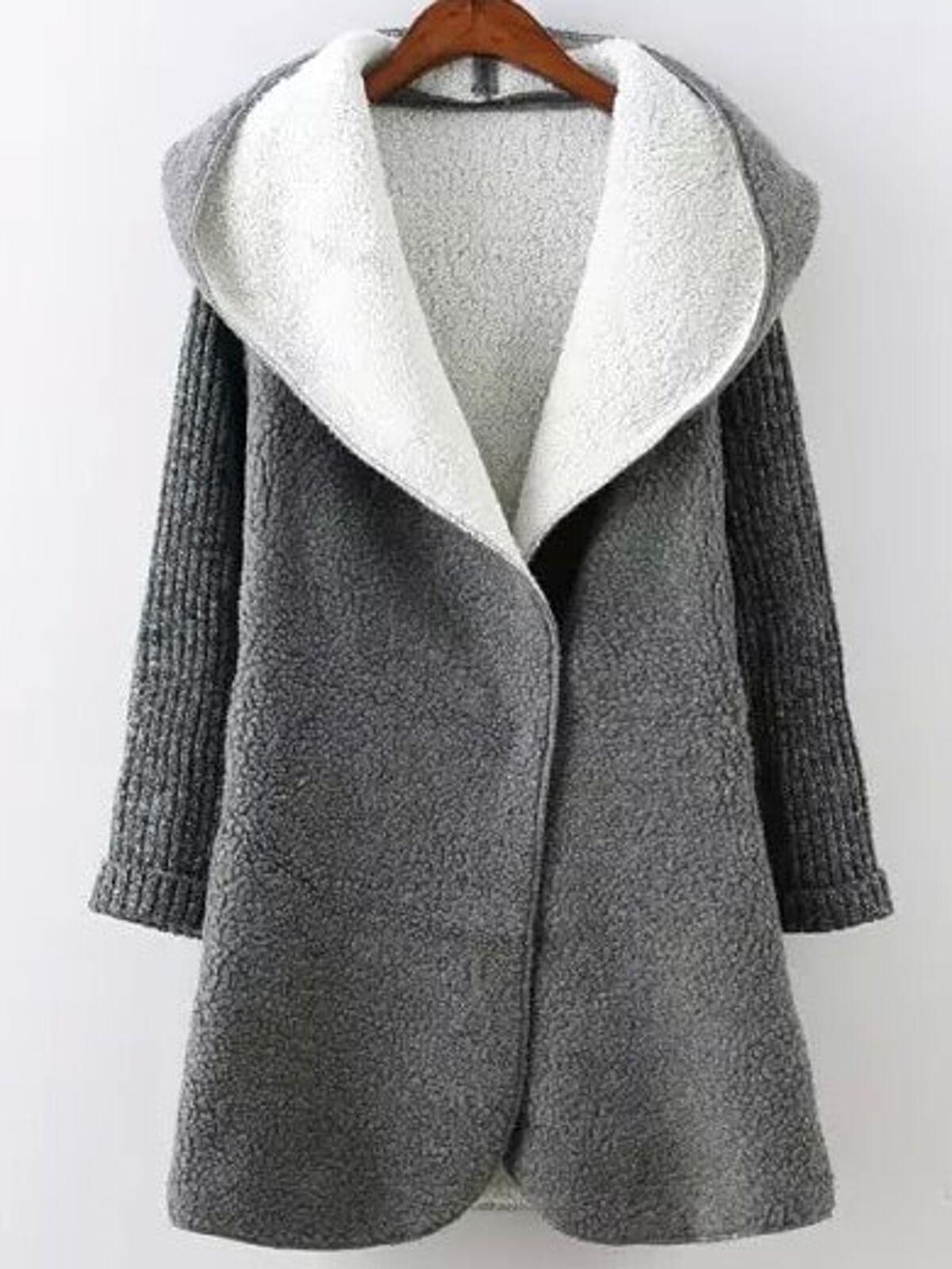 灰色 連帽 長袖 口袋 毛衣 外套