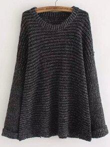 Black Round Neck Loose Knit Sweater
