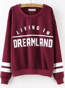 Burgundy Round Neck Letters Print Sweatshirt