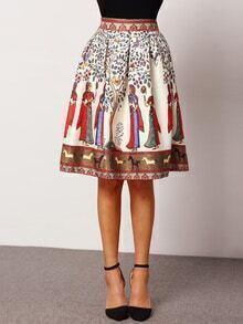 Colour High Waist Tribal Print Skirt