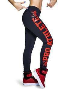 Black Letters Print Sport Leggings