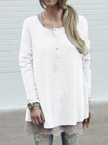 White Long Sleeve Buttons Loose Knitwear