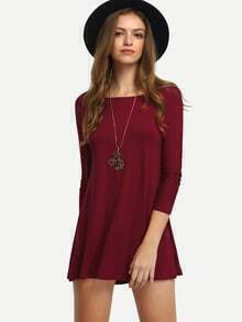 Red Long Sleeve Straight Loose Dress