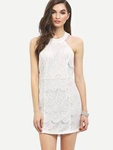White Halter Open Back Lace Bodycon Dress
