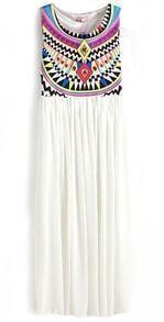 White Fling Sleeveless Argyle Triangle Geometric Tribal Print Chiffon Dress