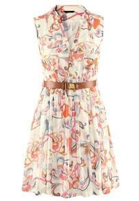 Multicolor Foam Sleeveless Floral Belt Chiffon Dress