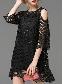 Black Split Sleeve Hollow Beading Dress