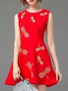 Red Sleeveless Dragonfly Embroidered A-Line Dress
