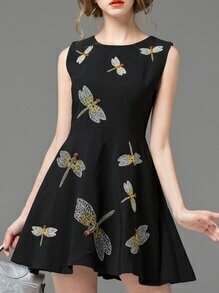 Black Sleeveless Dragonfly Embroidered A-Line Dress