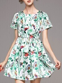Green Crew Neck Floral A-Line Dress