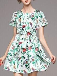 Green Crew Neck Floral A-Line Dress