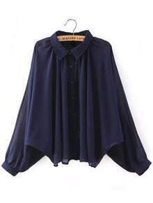 Sheer Oversize Navy Blouse