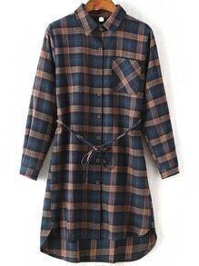 Plaid Pocket High Low Shirt Dress