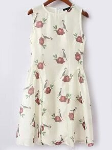 Crew Neck Floral Slim Dress