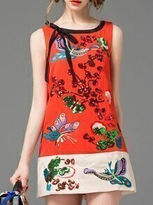 Red Bow-Tie Sequined Embroidered Dress