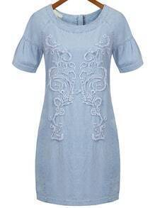 Embroidered Frayed Denim Dress With Zipper