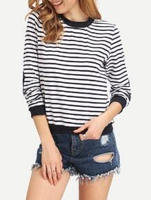 White Striped Elbow Patch T-Shirt