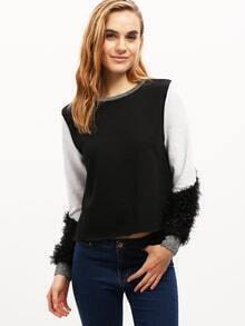 Black Color Block Embellished Sweatshirt