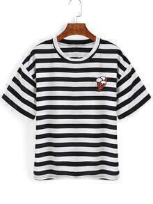 Striped Ice Cream Embroidered Black T-Shirt