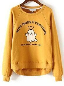 Cartoon Letters Print Yellow Sweatshirt