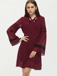 Burgundy Drawstring Neck Eyelet Chiffon Dress