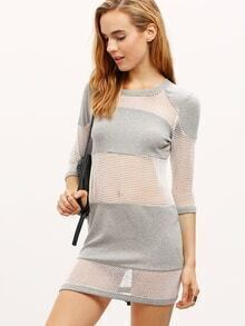 Grey Color Block Hollow Out Dress