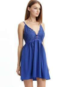 Blue Spaghetti Strap V Back Lace Dress