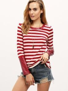 Burgundy Striped PU Leather Cuff T-Shirt