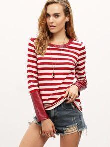 Burgundy Striped PU Leather Cuff T-Shirt