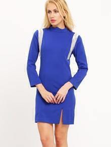 Blue Mock Neck Side Slit Dress