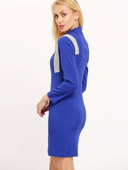 Romwe / Blue Mock Neck Side Slit Dress