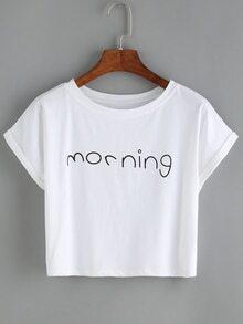 Camiseta cuello redondo manga corta letras -blanco