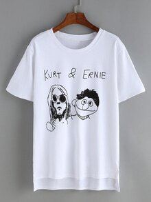 Dip Hem Cartoon Print White T-Shirt