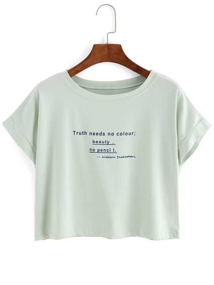 Letter Print Crop Pale Green T-Shirt