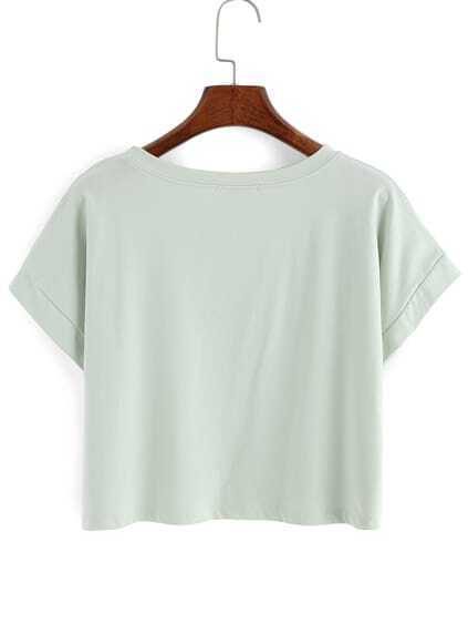 Letter Print Crop Pale Green T-Shirt