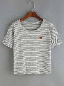 T-Shirt mit Bär Druck und Streifen