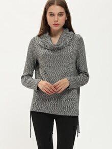 Grey Cowl Neck Loose T-Shirt