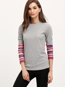 Grey Crew Neck Contrast Sleeve Sweater